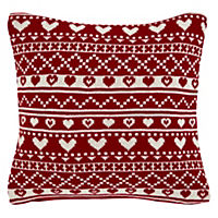 Christmas Knitted Heart Cushion